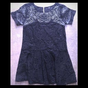 Free People Embroidered black lace dress